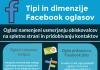dimenzije oziroma mere facebook oglasov ter oglasi za povečanje prodaje